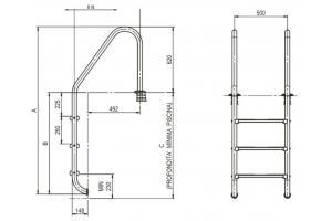 Scala con corrimano standard 4 gradini