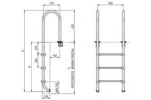 Scala con corrimano modello stretta - gradino modello LUXE 3 gradini