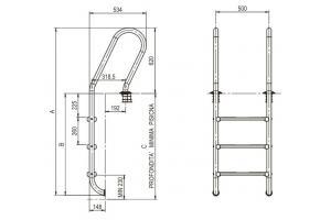 Scala con corrimano modello misto - gradino modello LUXE 3 gradini