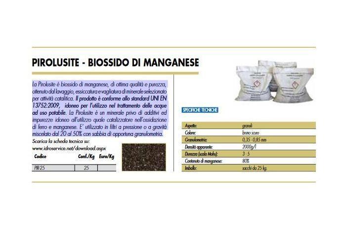 PIROLUSITE - BIOSSIDO DI MANGANESE 25 KG