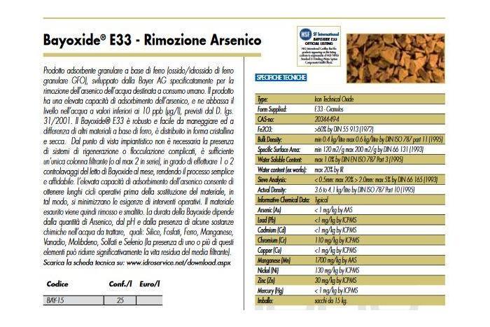 Bayoxide ® E33 - Rimozione Arsenico 25 LT
