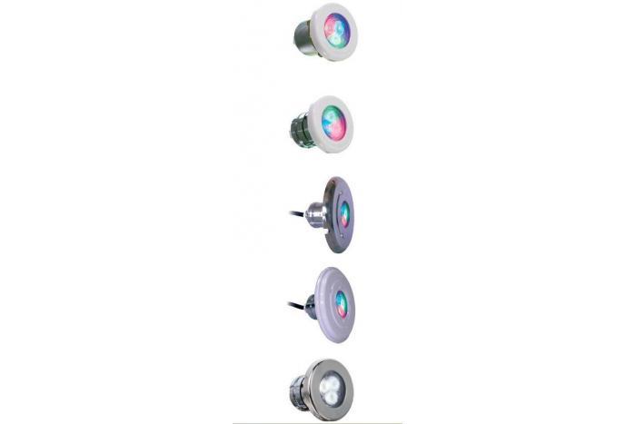 Lumiplus mini 2.11 luce rgb con passante d. 63mm con flangia inox